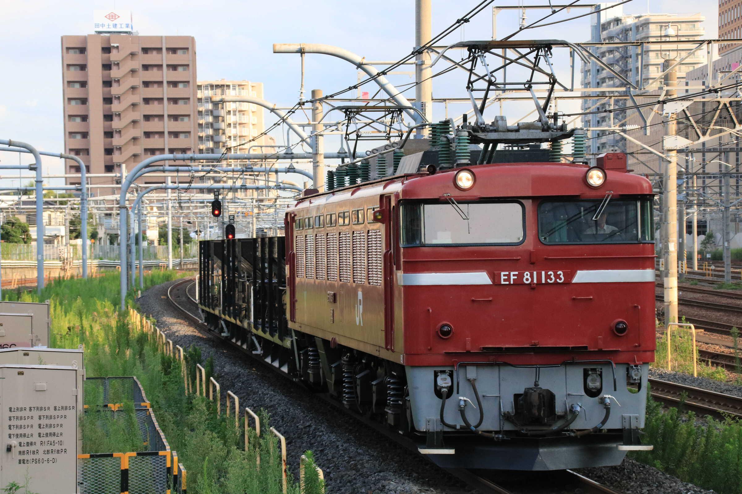 配8937列車 交検出場配給 EF81-133①[田]+ホキ3両