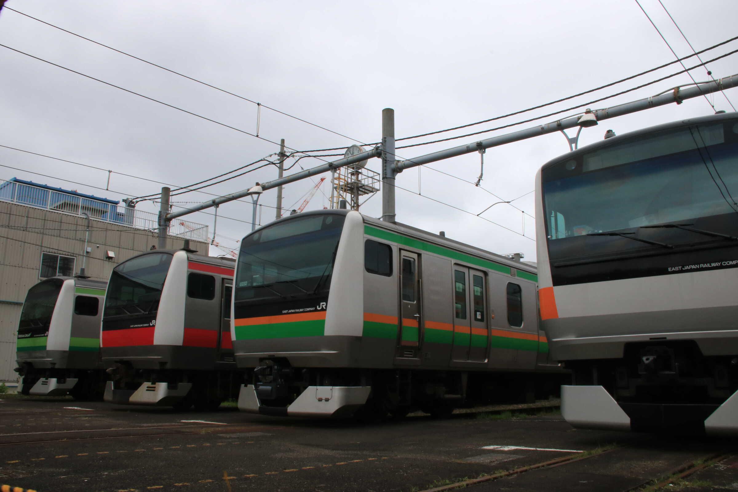 E233展示 八トタH44、宮ヤマU232、千ケヨ511、横クラH017