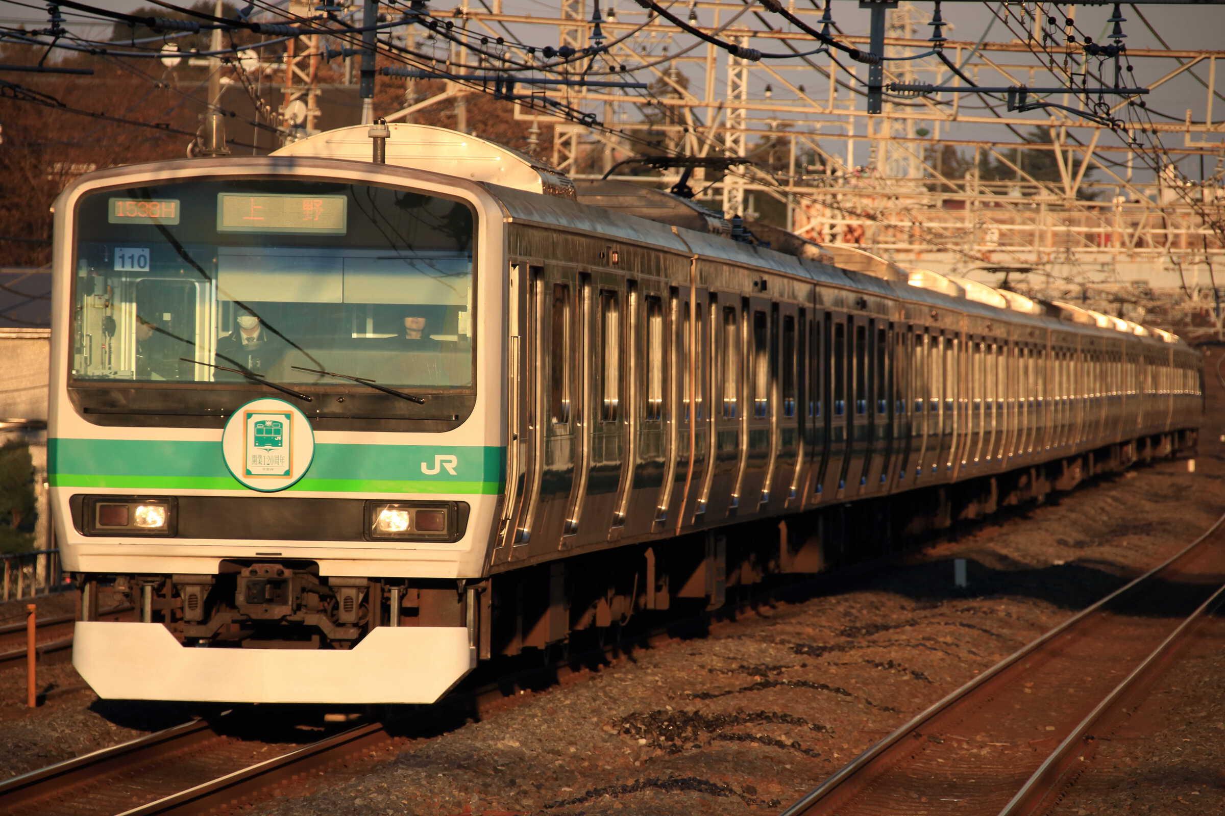 1538H E231系 東マト110編成(常磐線開業120周年ラッピング&ヘッドマーク付き)