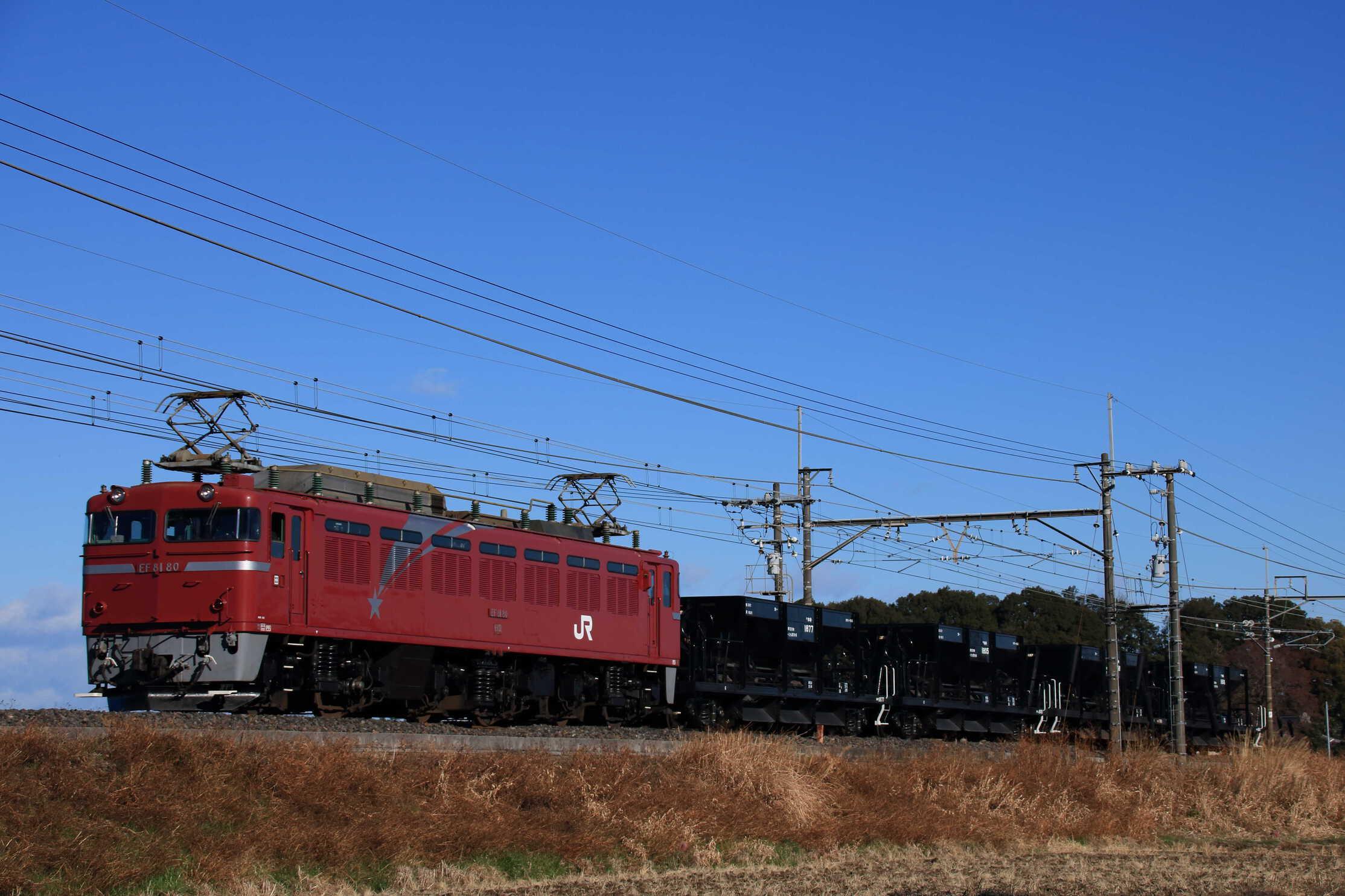配8936列車 交検入場配給 EF81-80②[田]+ホキ4両
