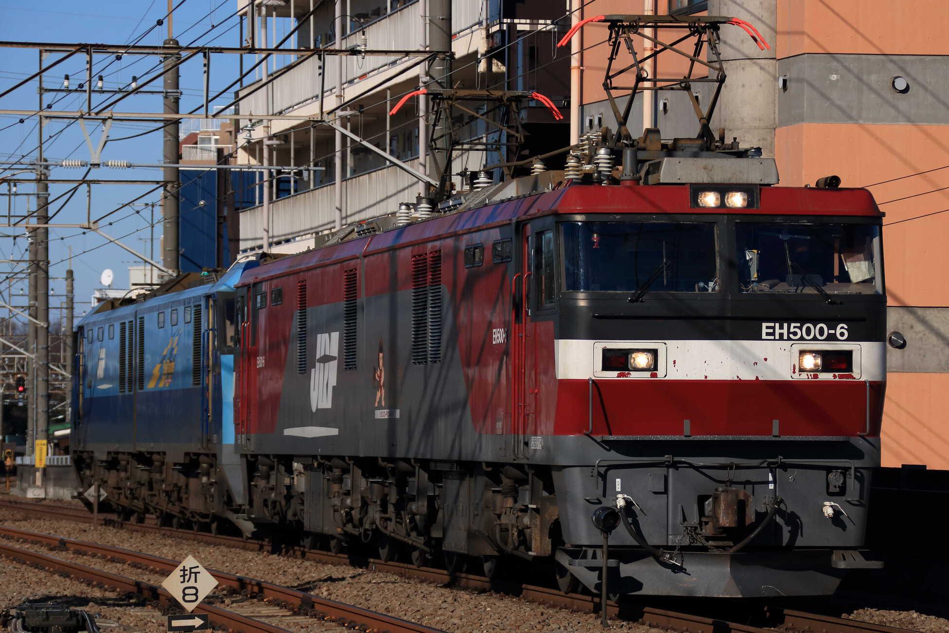 配6794列車 EH500-6①[仙貨](代走, 所定 : EF65[新]))+EH200-5①[高]