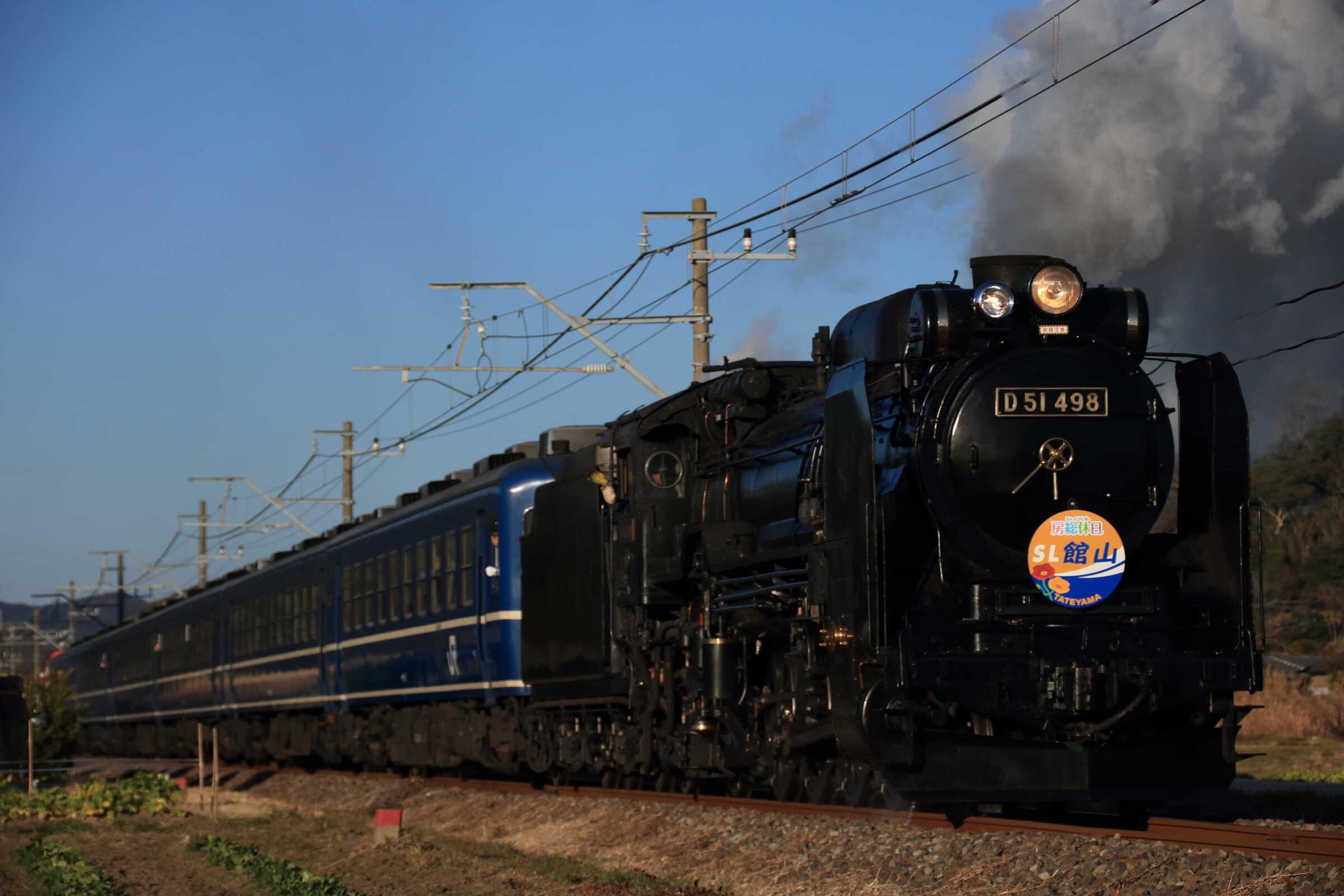 9124列車 快速 SL館山 D51-498[高]<臨A582>+12系 高タカ車6両(オヤ12-1込み)+DE10-1704[宇]<臨A111>