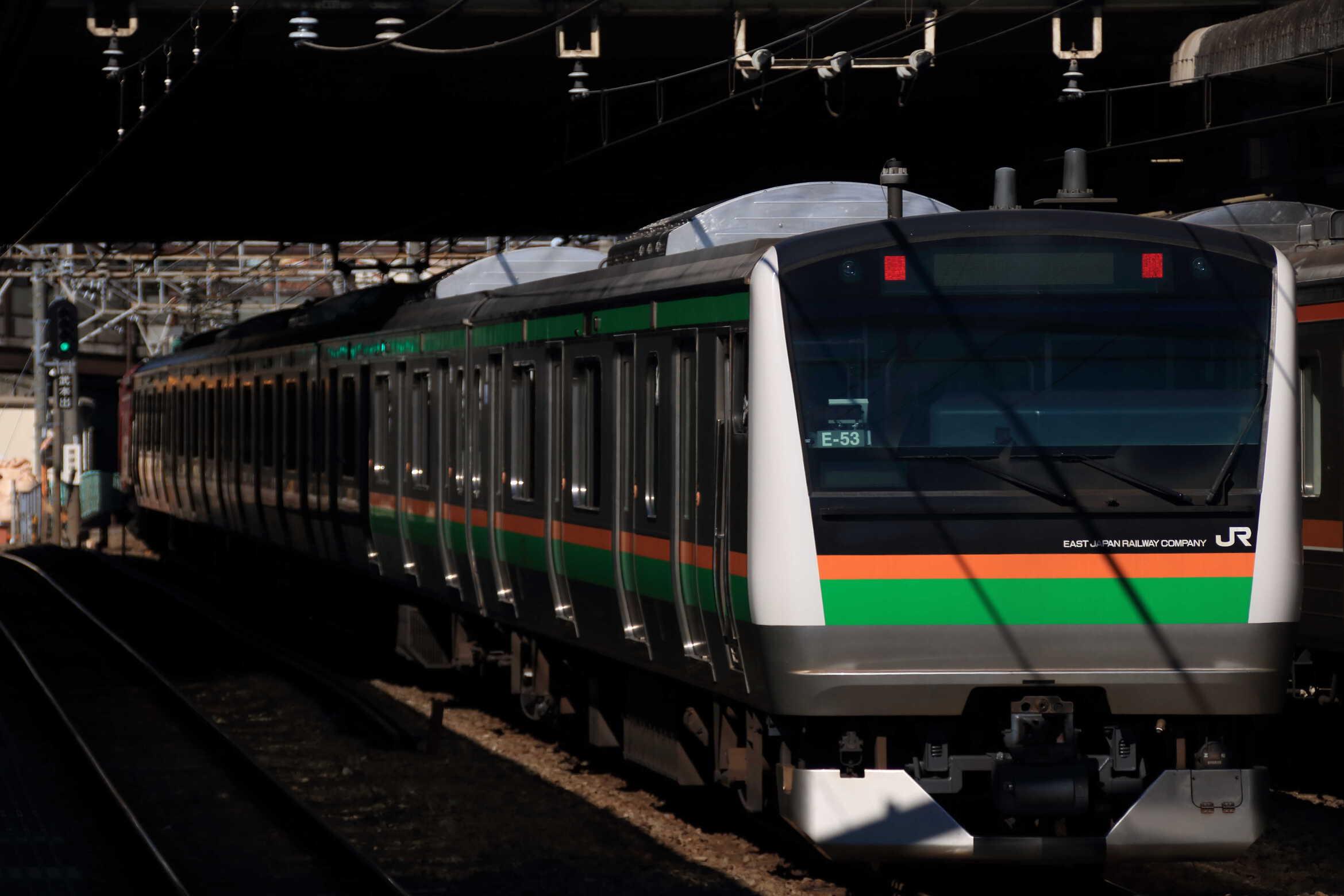 配9541列車 E233系 線路モニタリング装置設置のためのKY入場配給 EF81-141[長岡]+E233系 横コツE-53編成