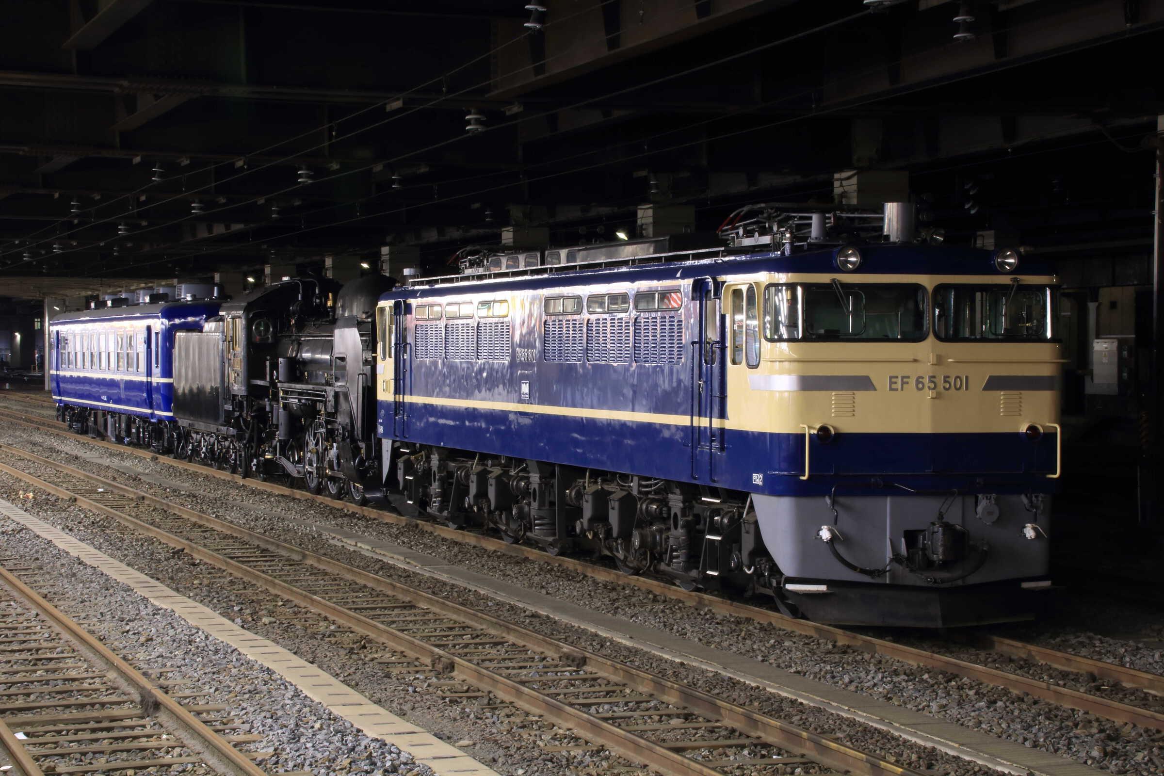 配9551列車 C58-239[盛] OM出場配給(据付) EF65-501②[高]<臨A951>+C58-239[盛]+高タカ スハフ12-162
