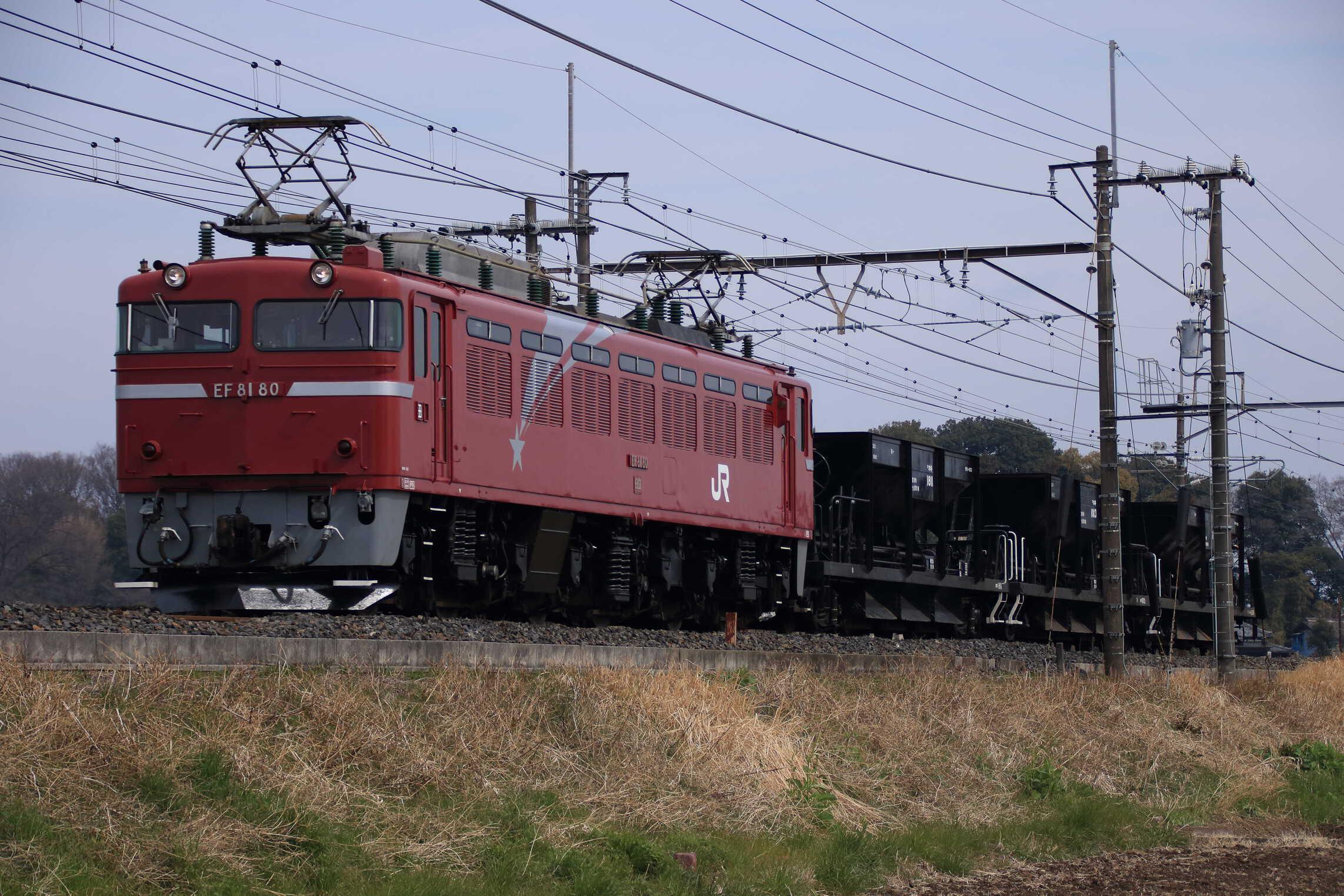 配8936列車 交検入場配給 EF81-80②[田]+ホキ3両