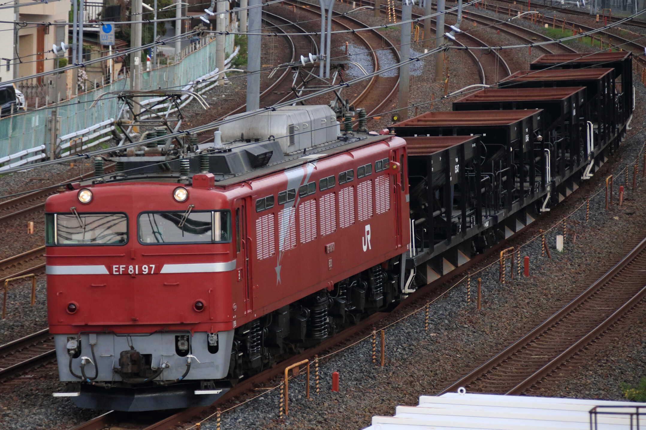 配8937列車 交検出場配給 EF81-97①[田]+ホキ5両