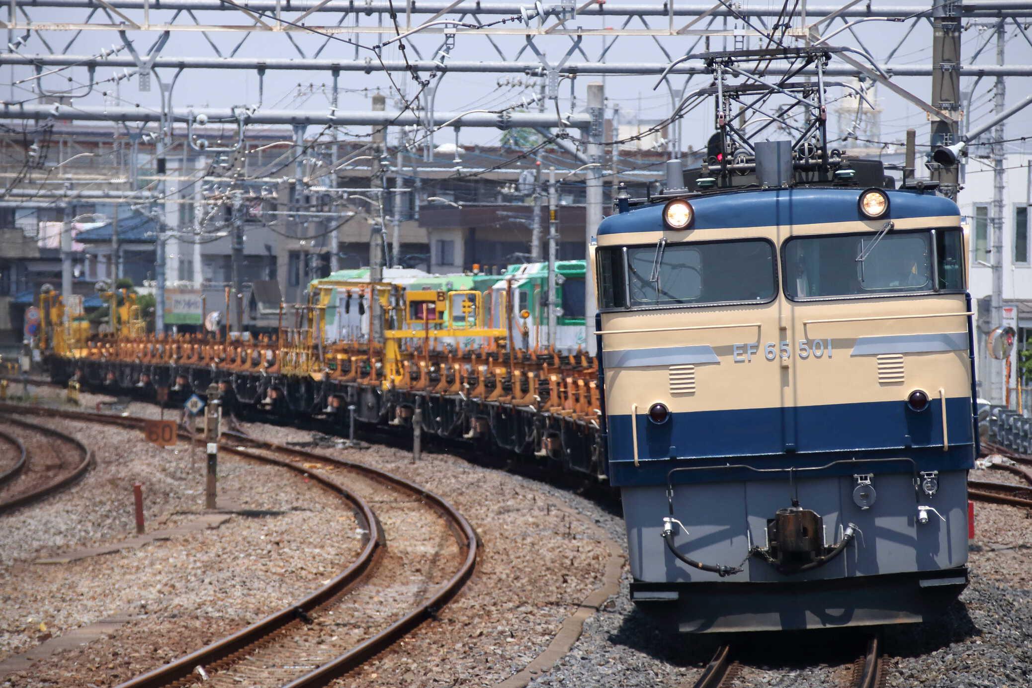 工9774列車 新津工臨返空(新北=2) EF65-501①[高]+ロンチキB編成13両