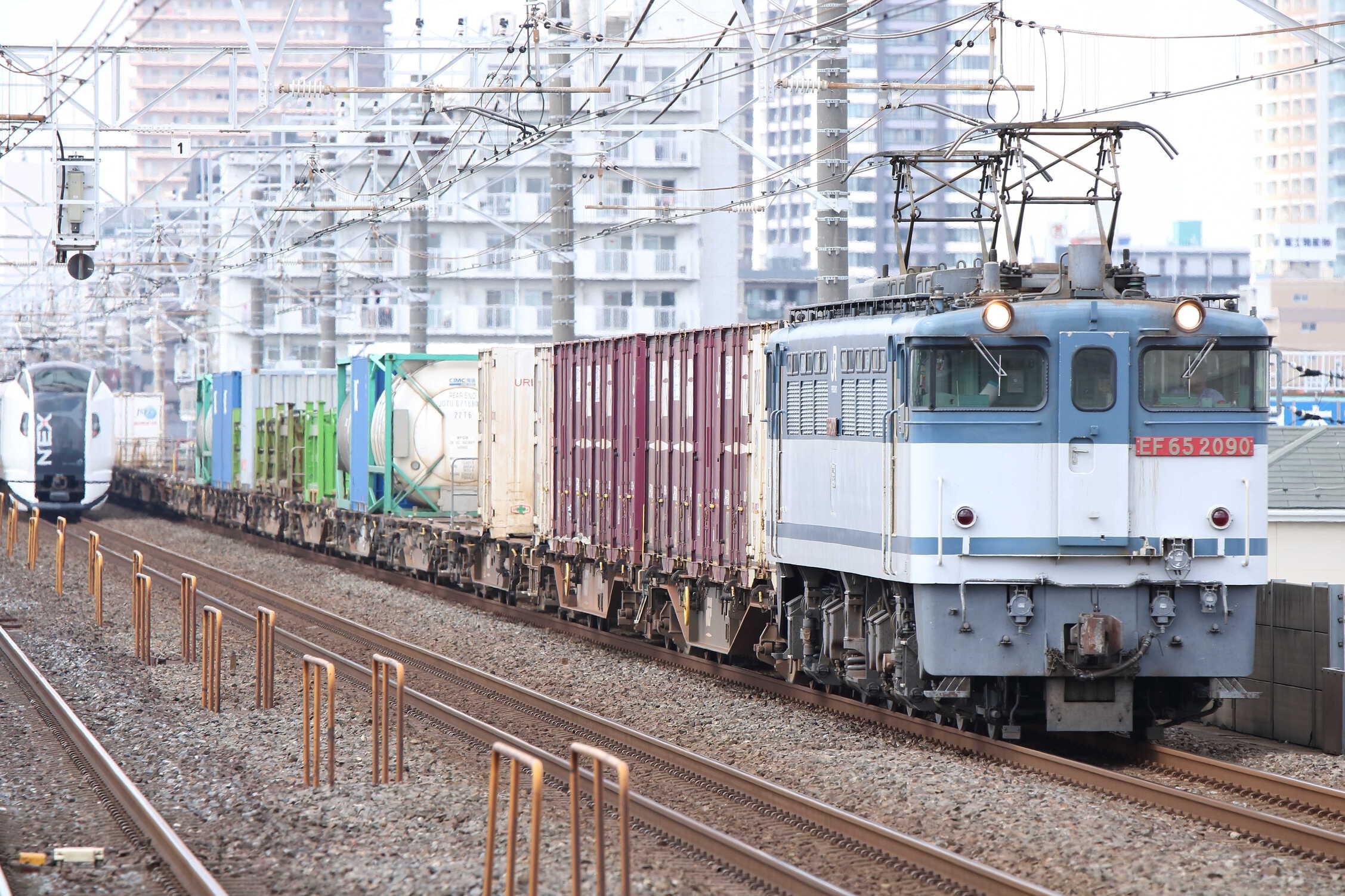 1091列車 EF65-2090①[新]+コキ19車