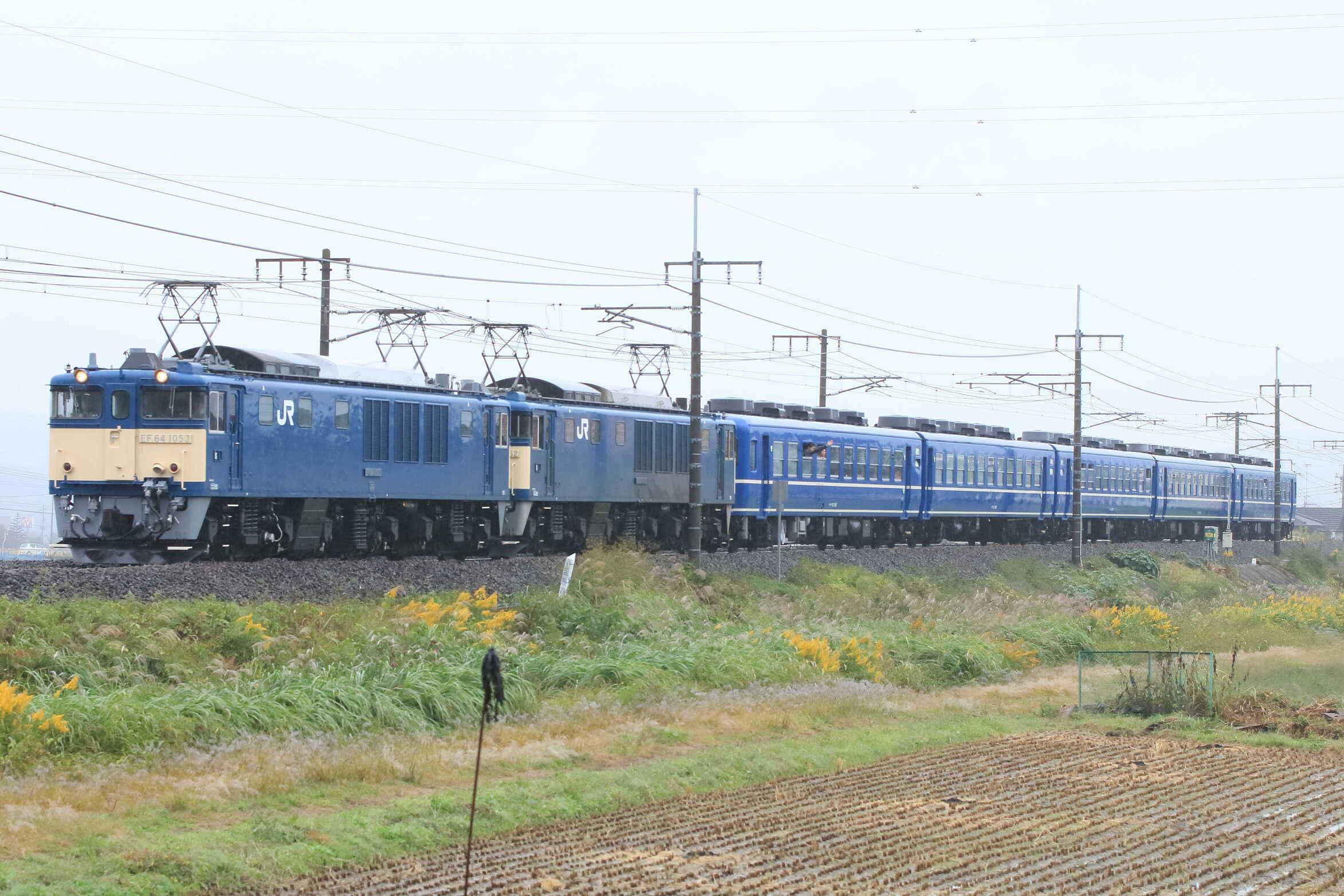 9731列車 ELみなかみ EF64-1053②[高]+EF64-1052②[高]+12系 高タカ車5両