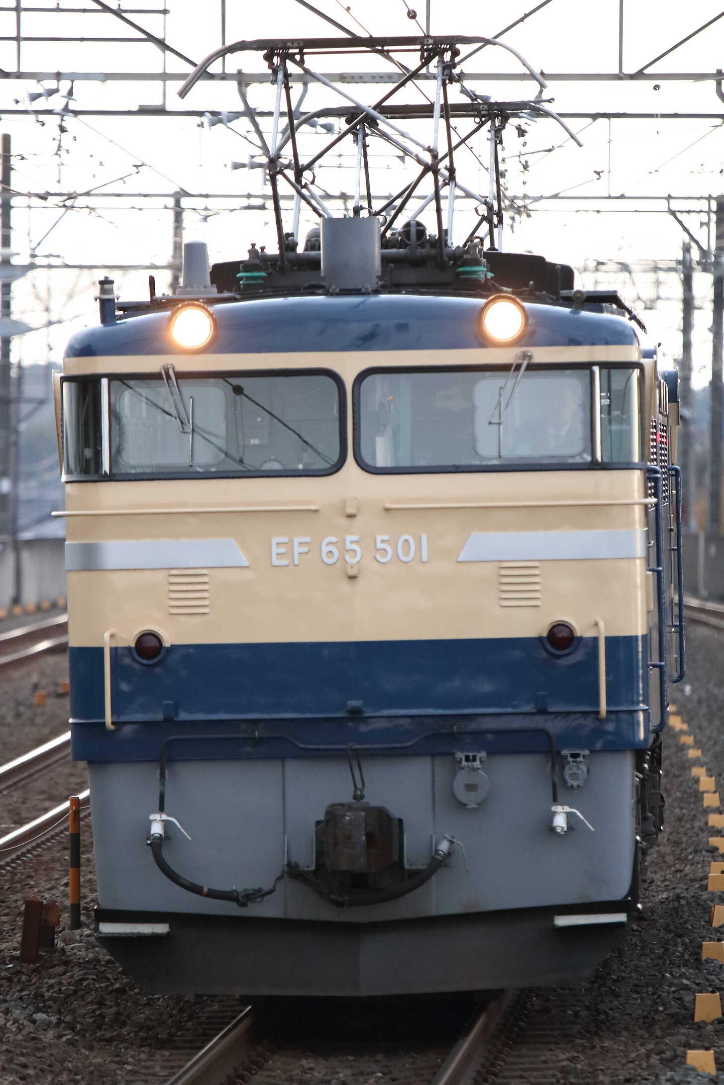 単9551列車 12系回送牽引機黒磯送り込み EF65-501[高]