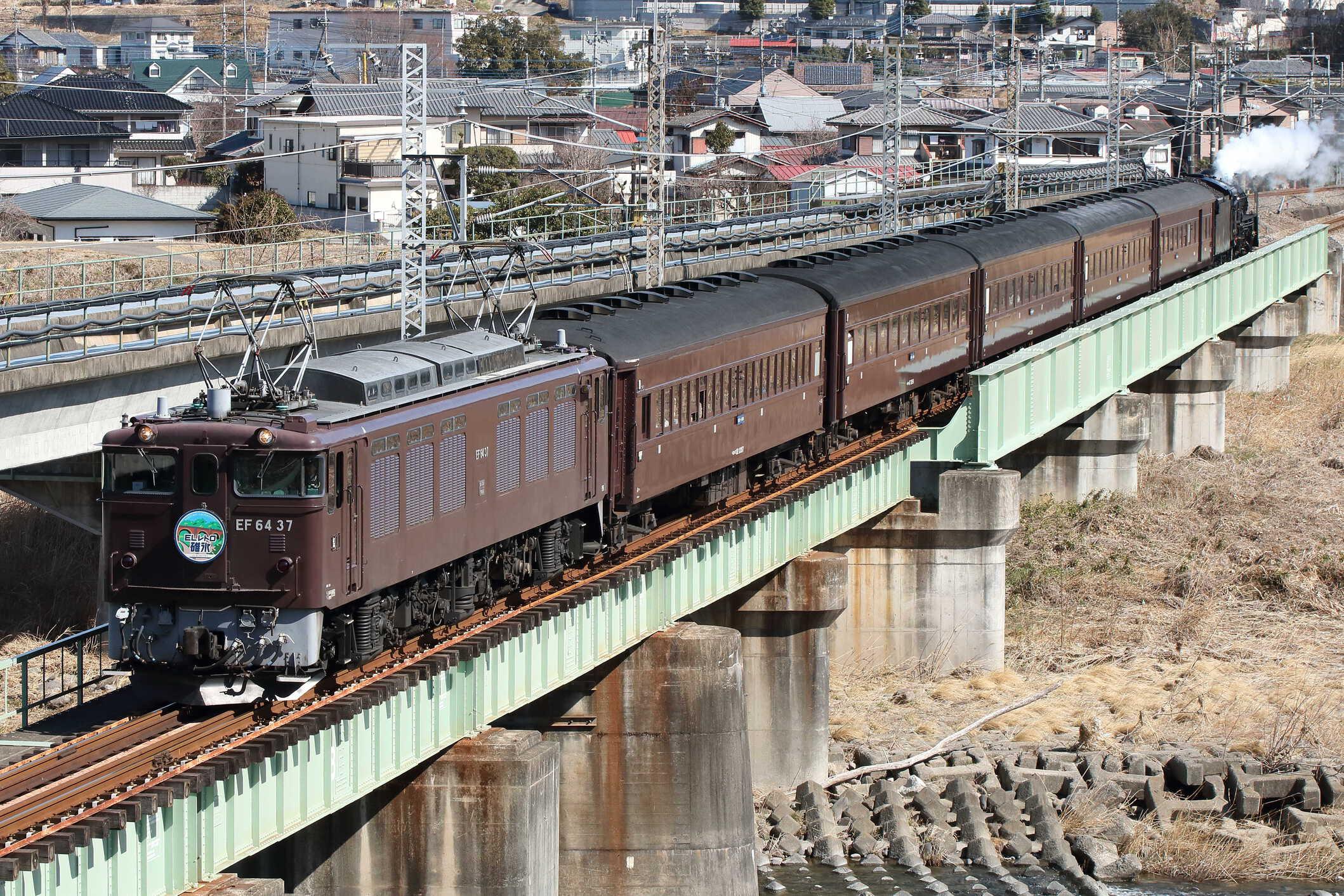 9135列車 快速 ELレトロ碓氷 EF64-37②[高]+旧客5両+C61-20[高]