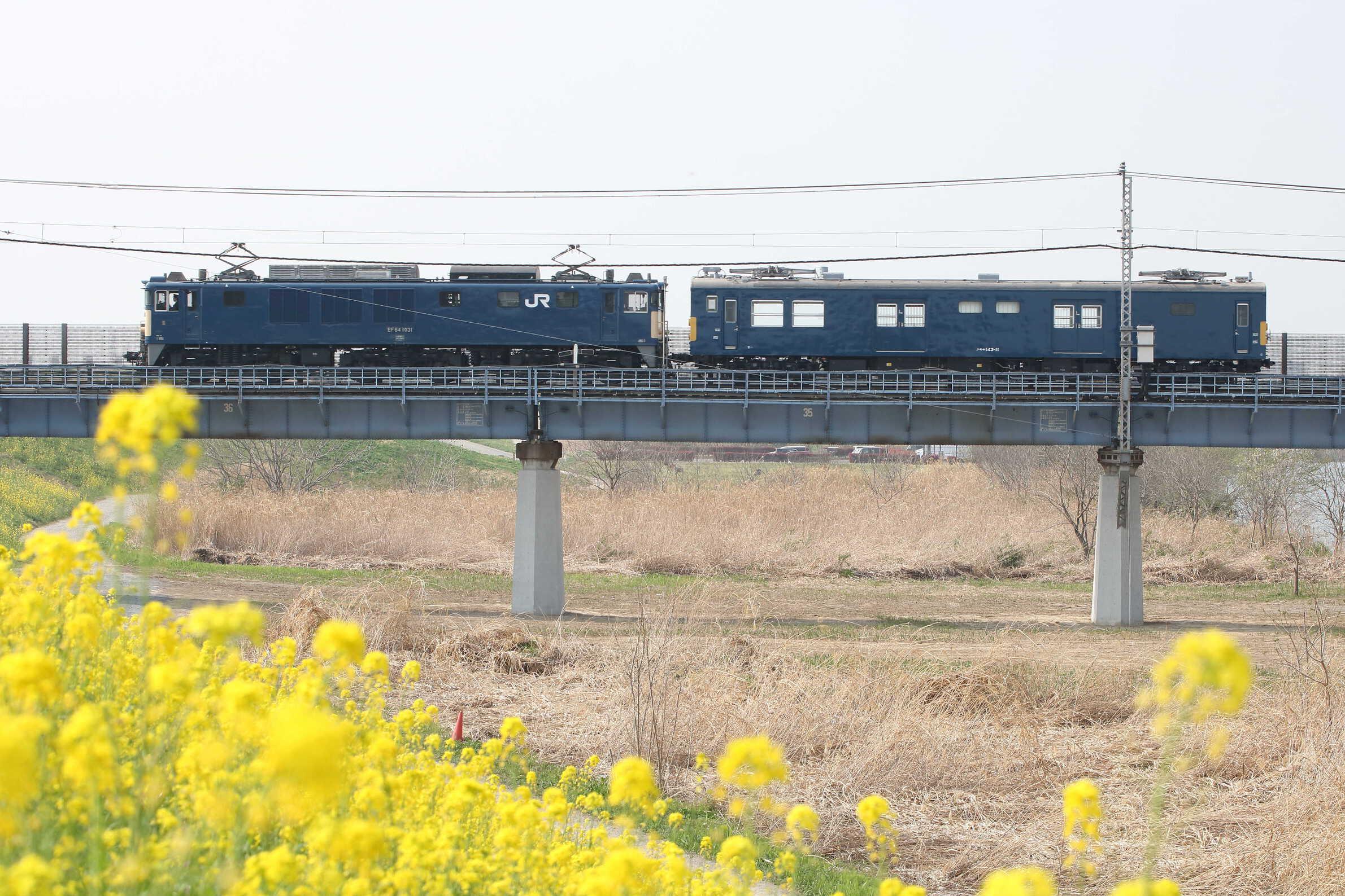 配9625列車 OM出場配給 EF64-1031[長岡]+クモヤ143-11(宮ハエ)