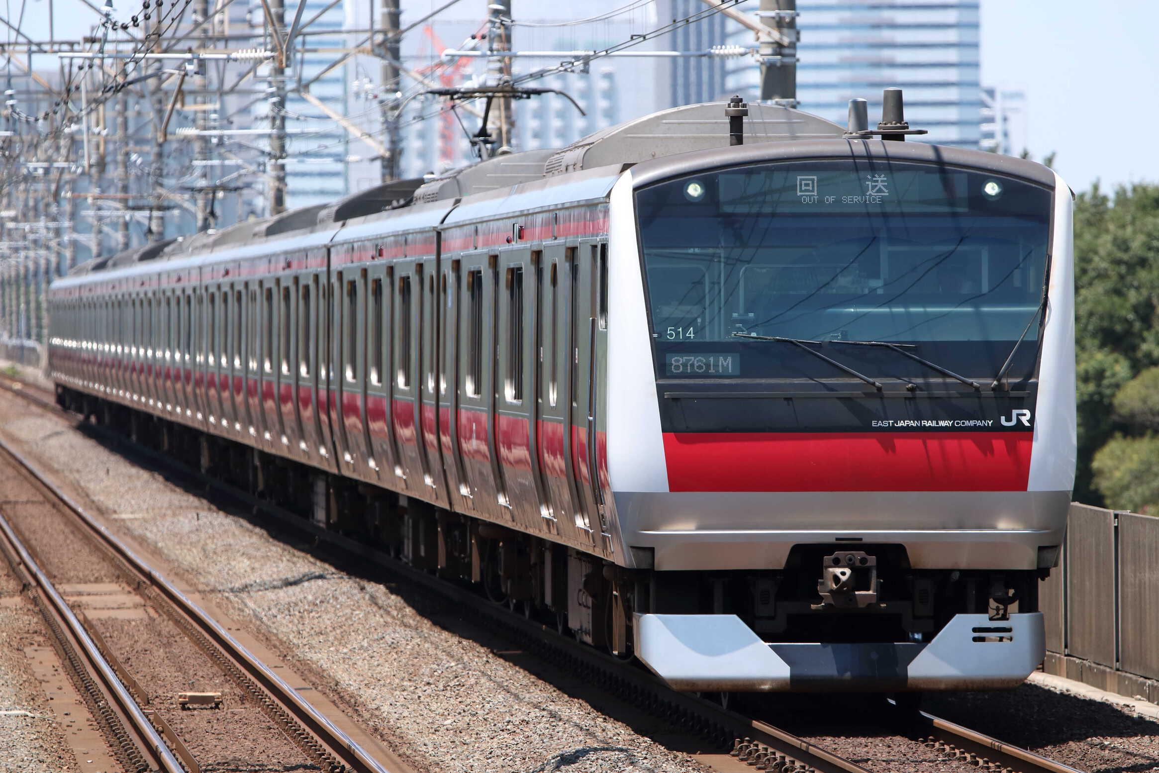 回8761M 幕張車両センター車輪転削送り込み E233系 千ケヨY514編成