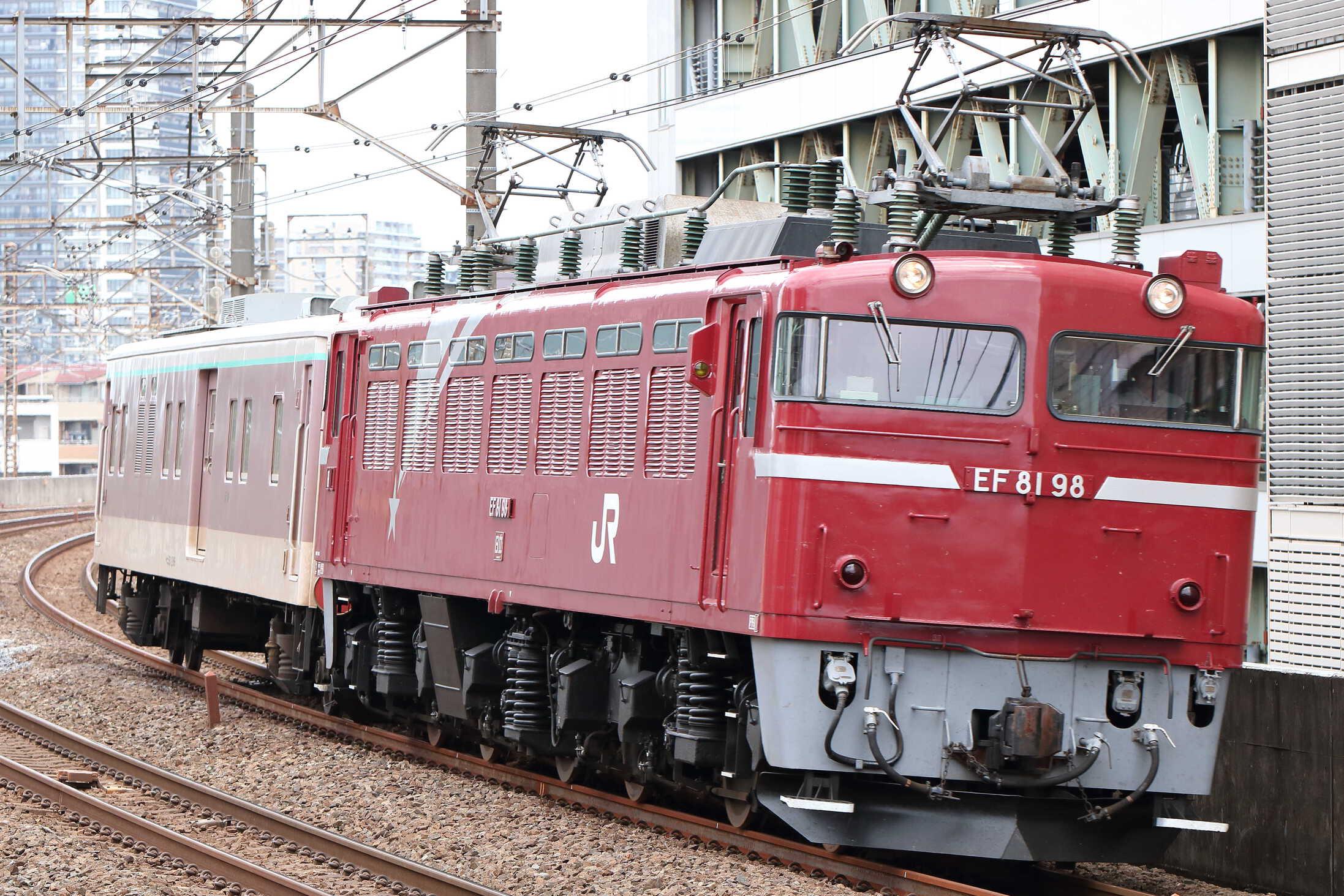 配9488列車 NN入場配給(廃車回送) EF81-98[田]+マニ50-2186(水スイ)