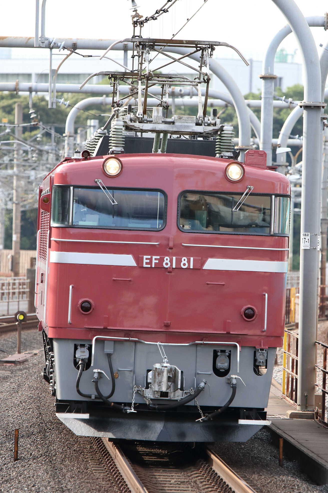 試単9502列車 田端運転所EL転換訓練 EF81-81[田]