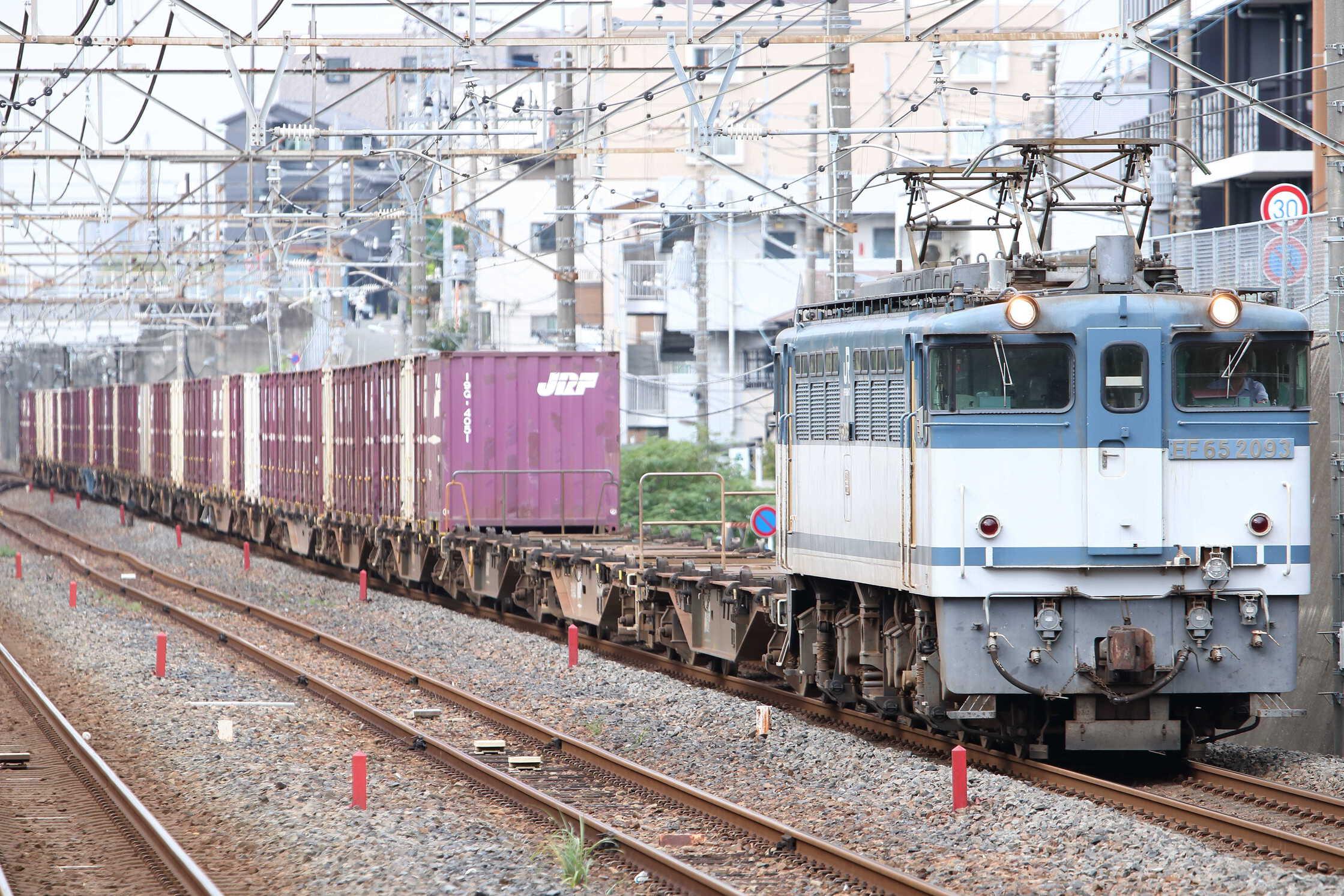 73列車 EF65-2093[新]+コキ18車