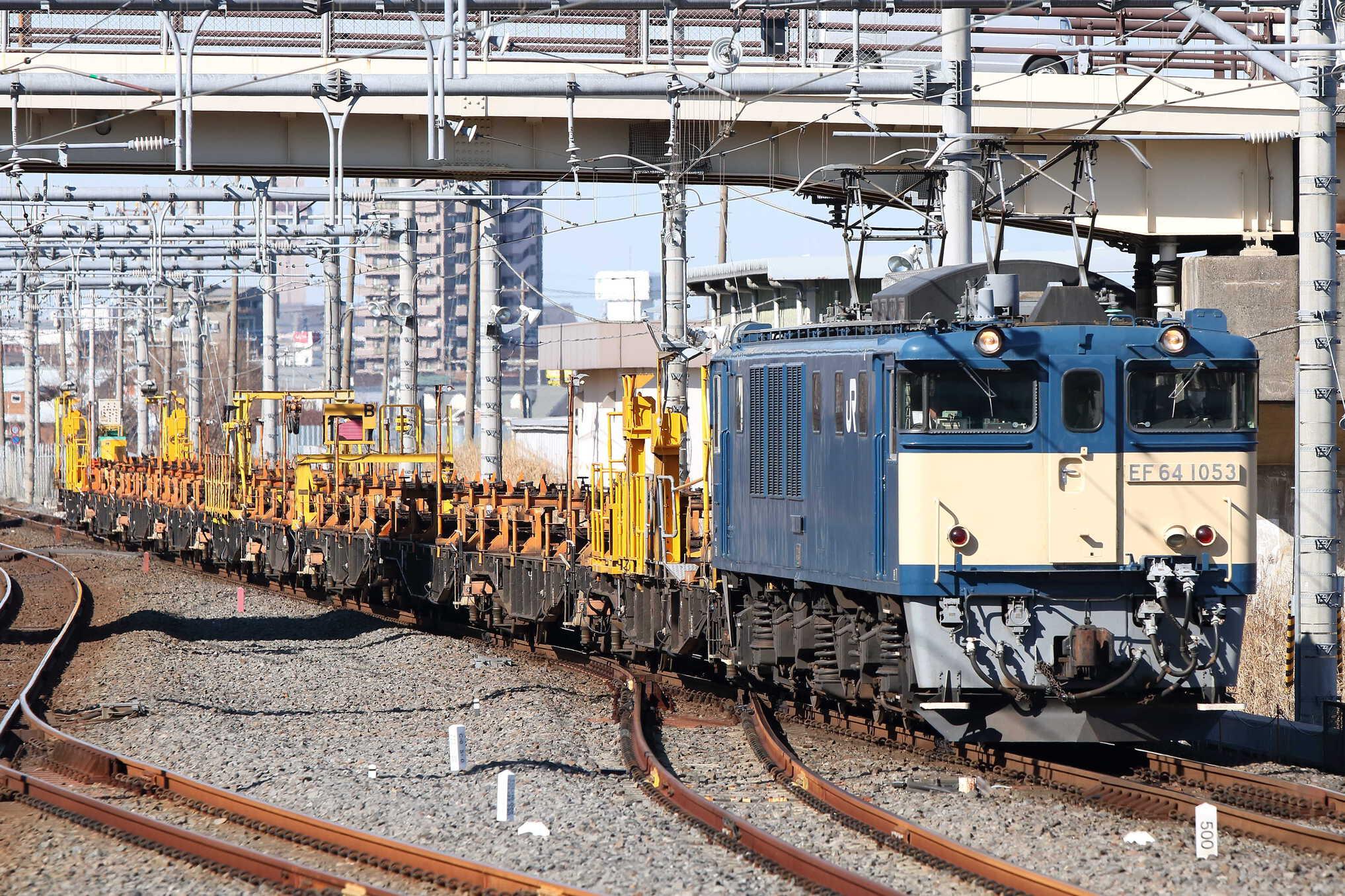 工9872列車 甲府工臨返空 EF64-1053[高]+ロンチキB編成10車