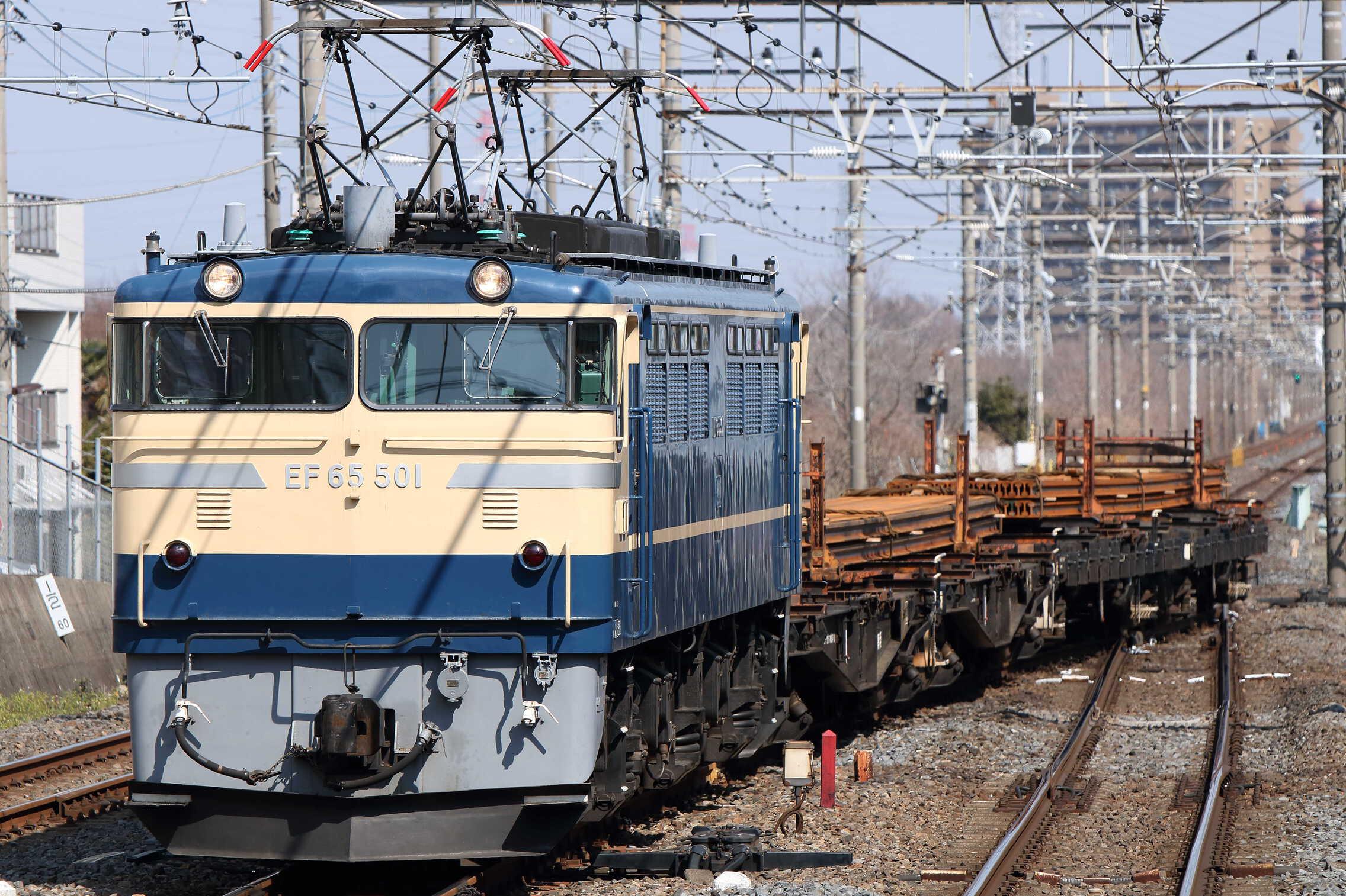 工9563列車 新津(東三条, 宮内)工臨 EF65-501[高]+チキ4車